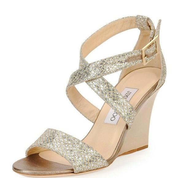 02df1fe0ffe Jimmy Choo Shoes - Jimmy Choo Metallic Fearne Glitter Wedge Sandals